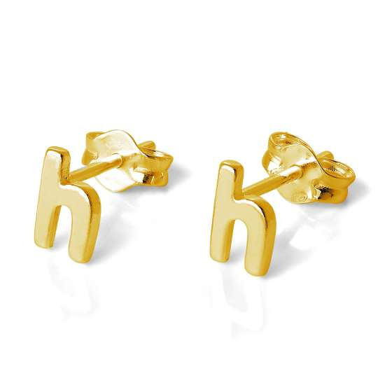 Gold Plated Sterling Silver Alphabet Letter H Stud Earrings