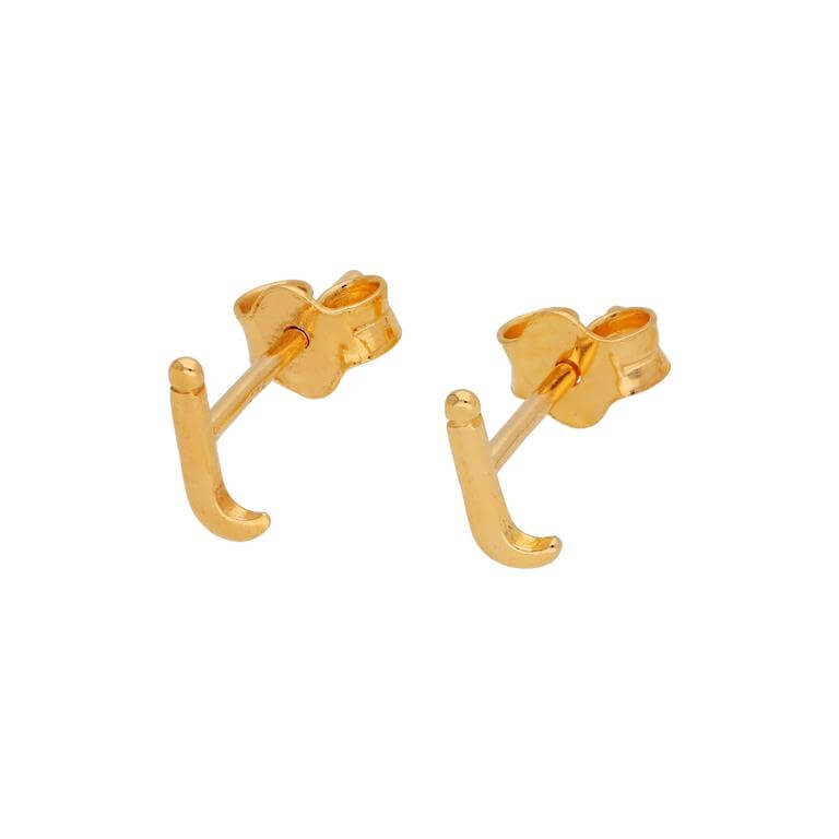 Gold Plated Sterling Silver Alphabet Letter I Stud Earrings