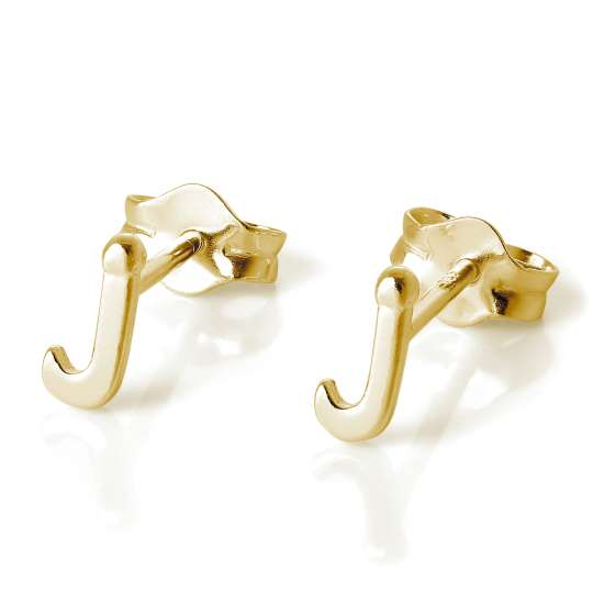 Gold Plated Sterling Silver Alphabet Letter J Stud Earrings
