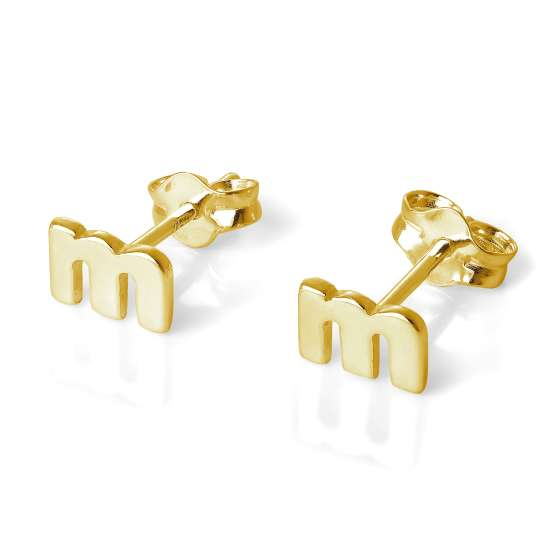 Gold Plated Sterling Silver Alphabet Letter M Stud Earrings