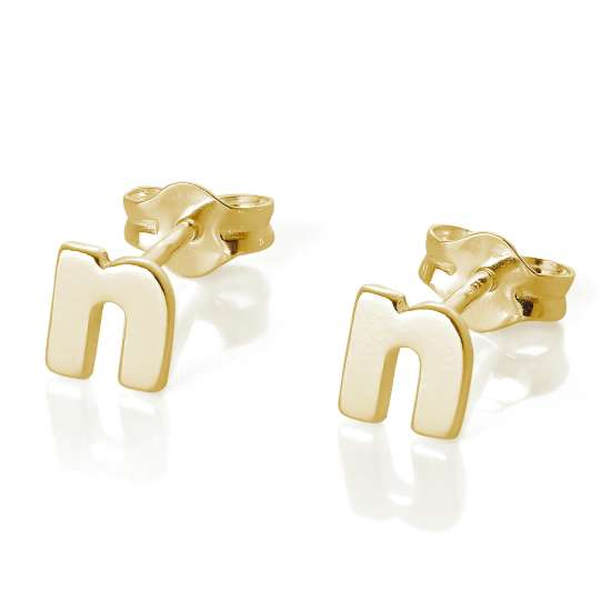 Gold Plated Sterling Silver Alphabet Letter N Stud Earrings