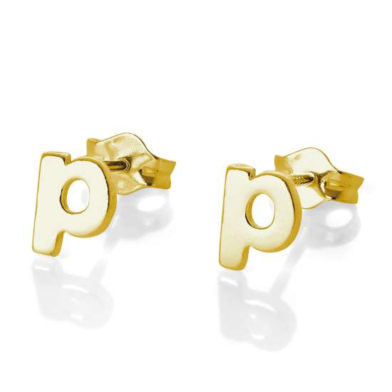 Gold Plated Sterling Silver Alphabet Letter P Stud Earrings