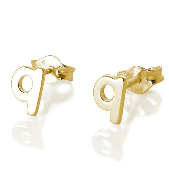 Gold Plated Sterling Silver Alphabet Letter Q Stud Earrings