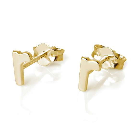 Gold Plated Sterling Silver Alphabet Letter R Stud Earrings