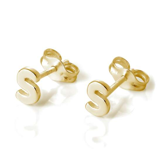 Gold Plated Sterling Silver Alphabet Letter S Stud Earrings