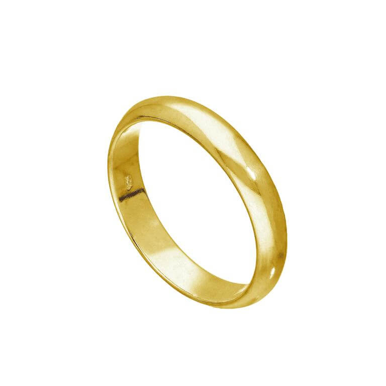 Gold Plated Sterling Silver 4mm D Shaped Wedding Band Ring Size (I - Z+6)