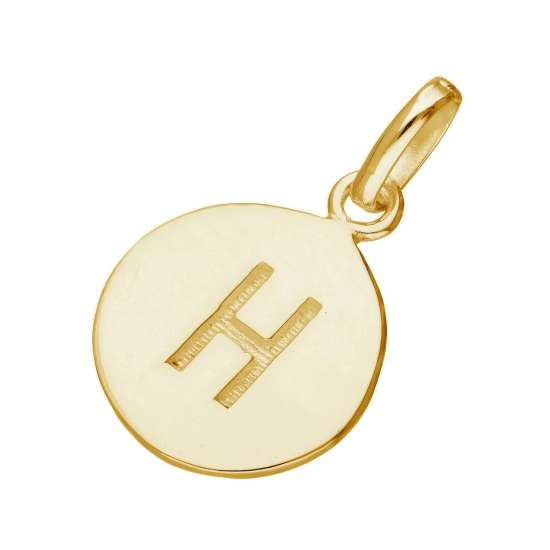 Gold Plated Sterling Silver Engravable Letter H Charm