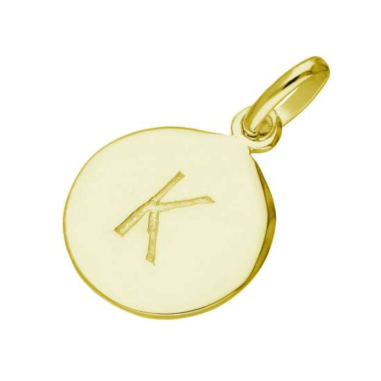 Gold Plated Sterling Silver Engravable Letter K Charm