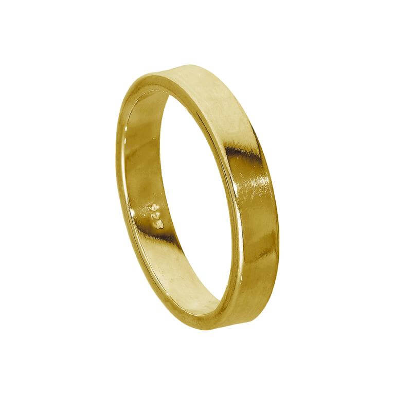 Gold Plated Sterling Silver 4mm Flat Wedding Band Ring Size I - Z