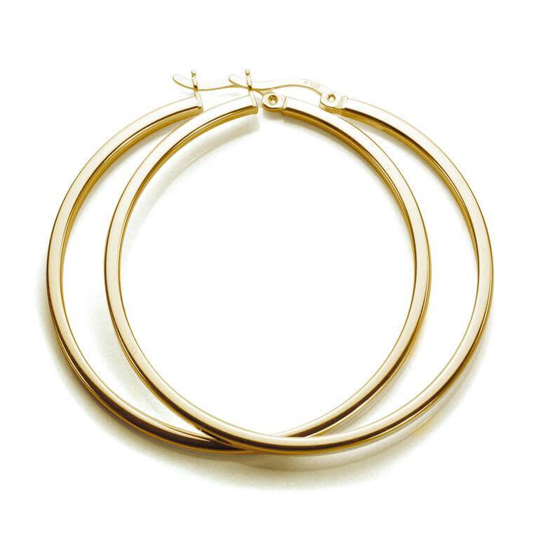 Gold Plated Sterling Silver 40mm Square Tube Hoop Earrings