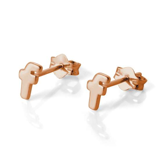 Rose Gold Plated Sterling Silver Letter F Stud Earrings