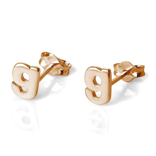 Rose Gold Plated Sterling Silver Letter G Stud Earrings