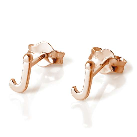 Rose Gold Plated Sterling Silver Letter J Stud Earrings