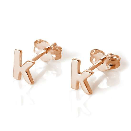 Rose Gold Plated Sterling Silver Letter K Stud Earrings