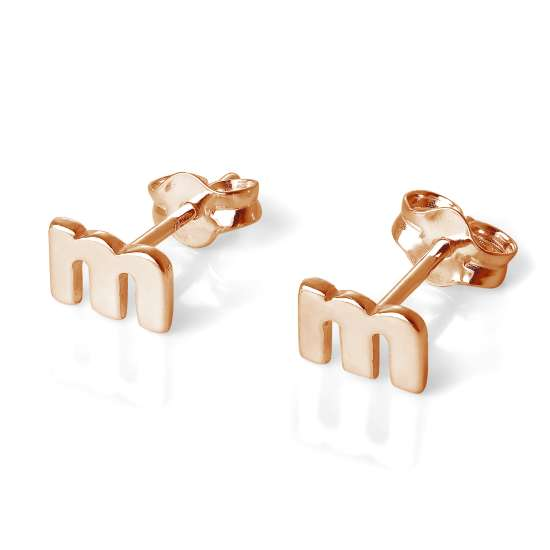 Rose Gold Plated Sterling Silver Letter M Stud Earrings