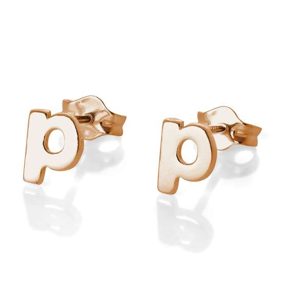 Rose Gold Plated Sterling Silver Letter P Stud Earrings