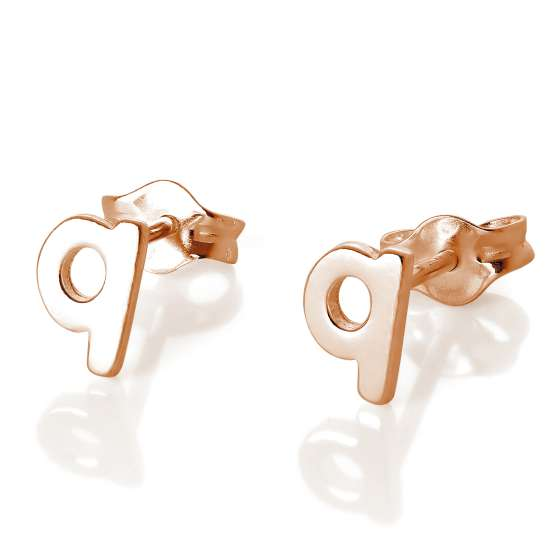 Rose Gold Plated Sterling Silver Letter Q Stud Earrings