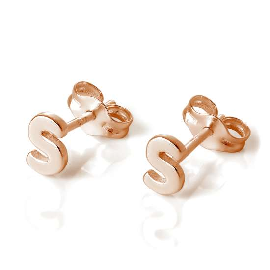Rose Gold Plated Sterling Silver Letter S Stud Earrings
