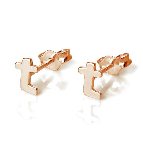 Rose Gold Plated Sterling Silver Letter T Stud Earrings