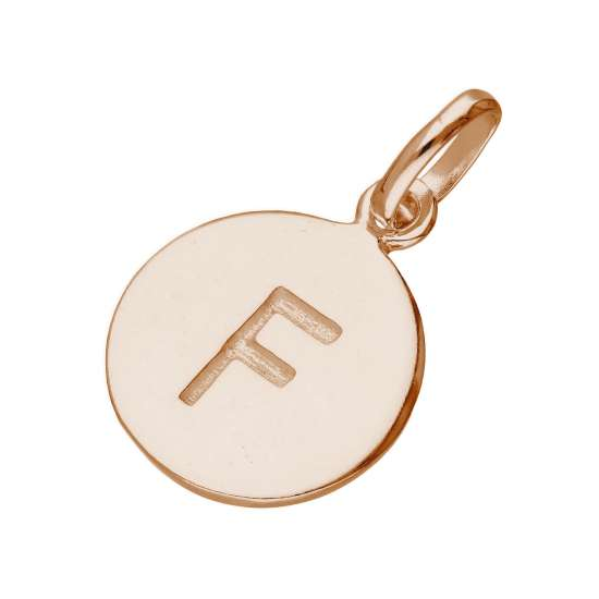 Rose Gold Plated Sterling Silver Engravable Letter F Charm