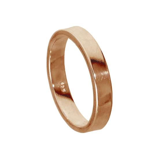 Rose Gold Plated Sterling Silver 4mm Wedding Ring Size I-Z