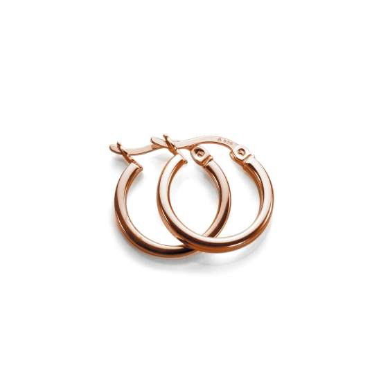 Rose Gold Plated Sterling Silver 12mm Square Tube Hoop Earrings
