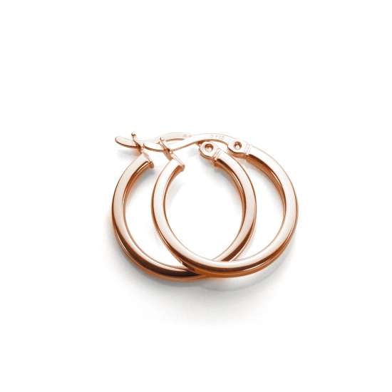 Rose Gold Plated Sterling Silver 15mm Square Tube Hoop Earrings