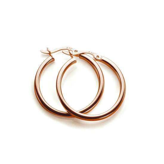 Rose Gold Plated Sterling Silver 20mm Square Tube Hoop Earrings
