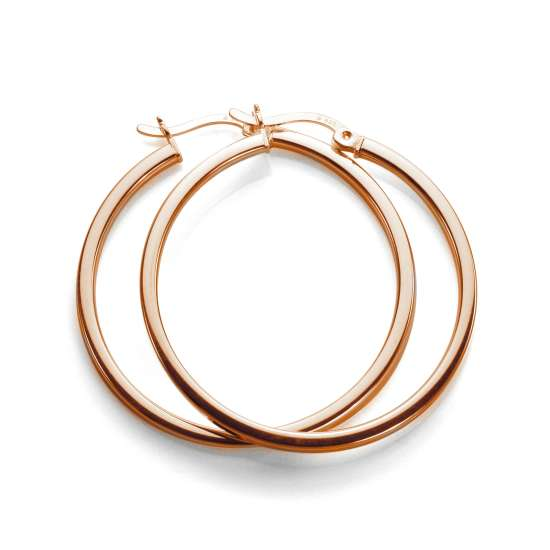Rose Gold Plated Sterling Silver 30mm Square Tube Hoop Earrings