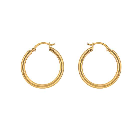 9ct Gold 20mm Lightweight Hinged Hollow Hoop Earrings