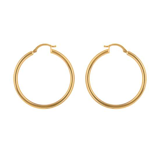 9ct Gold 30mm Lightweight Hinged Hollow Hoop Earrings