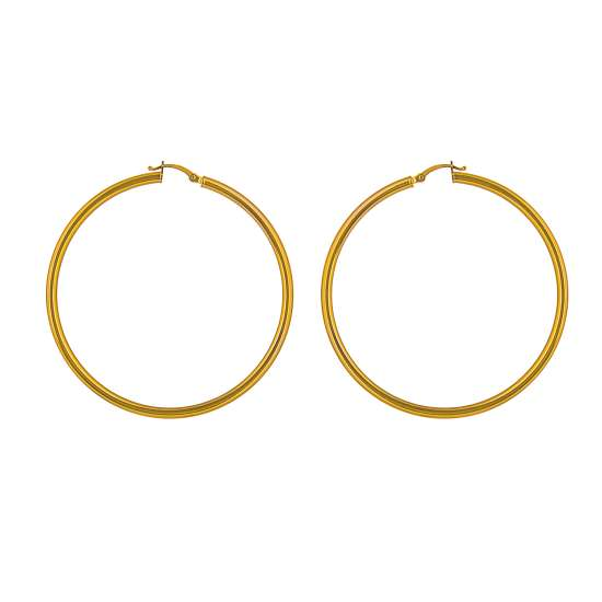 9ct Gold 50mm Lightweight Hinged Hollow Hoop Earrings