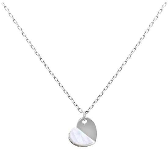 Sterling Silver Split Mother of Pearl Heart Necklace 18 Inch