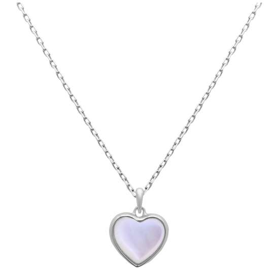 Sterling Silver Mother of Pearl Heart Necklace 18 Inch