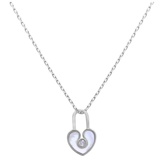 Sterling Silver Mother of Pearl & CZ Heart Padlock Necklace 18 Inch