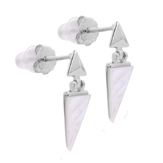 Sterling Silver Mother of Pearl Dangle Triangle Stud Earrings