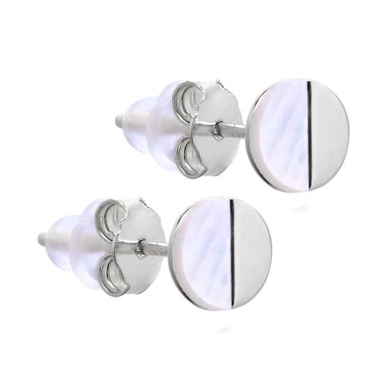Sterling Silver Split Mother of Pearl Round Stud Earrings