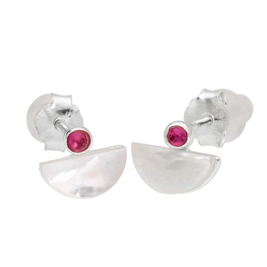 Sterling Silver Mother of Pearl & CZ Half Moon Stud Earrings