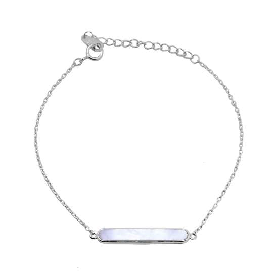 Sterling Silver Mother of Pearl Bar Adjustable Bracelet 7-8 Inches