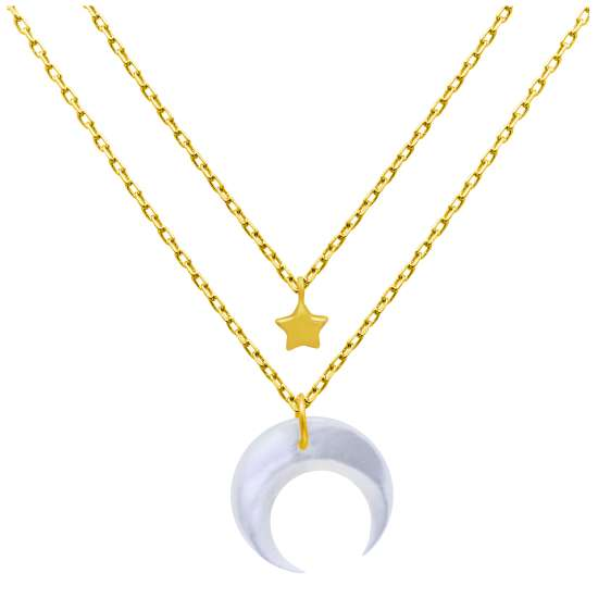 Gold Plated Sterling Silver Star & Crescent Moon Double Necklace