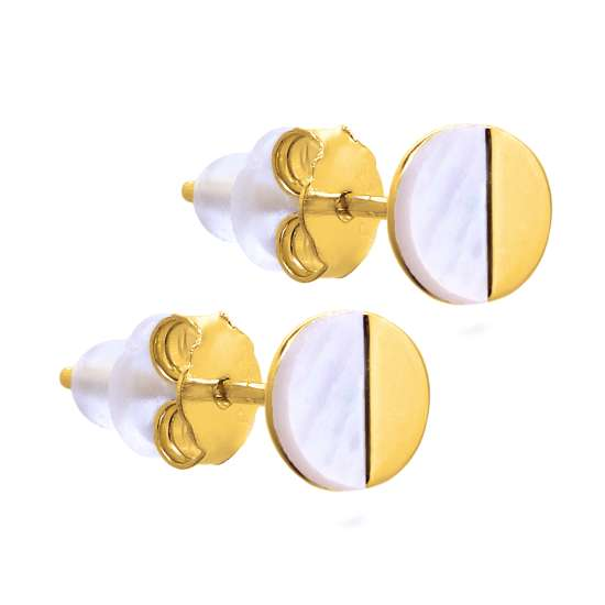Gold Plated Sterling Silver Split Mother of Pearl Round Stud Earrings