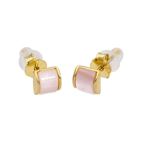 Gold Plated Sterling Silver Domed Mother of Pearl Stud Earrings