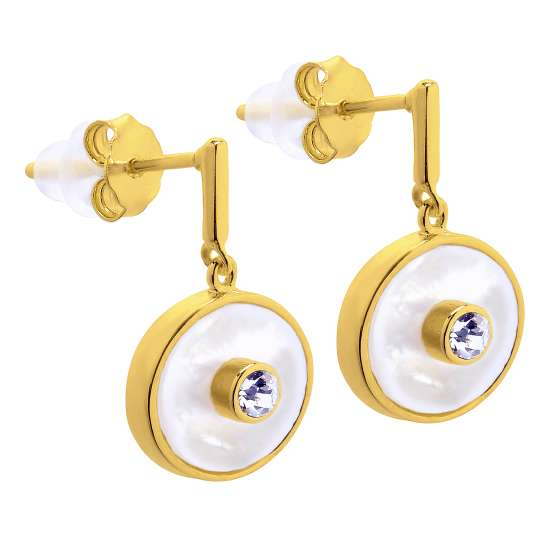 Gold Plated Sterling Silver & CZ Karma Stud Earrings