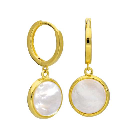 Gold Plated Sterling Silver Round Mother of Pearl Charm Hoops Earrings