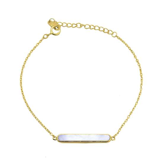 Gold Plated Sterling Silver Mother of Pearl Bar Adjustable Bracelet