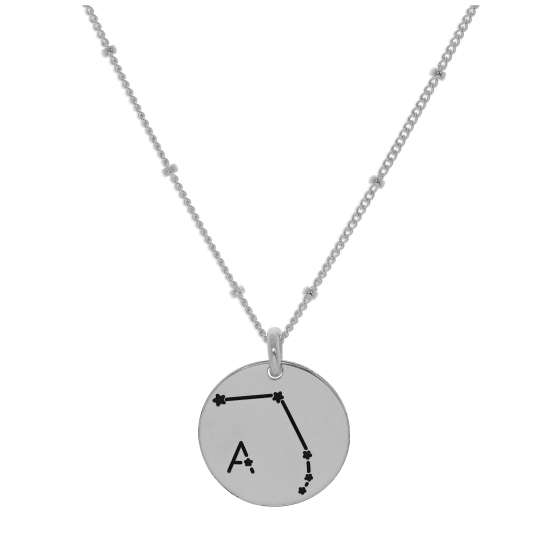 Bespoke Sterling Silver Aries Constellation & Initial Necklace 12-24 Inch