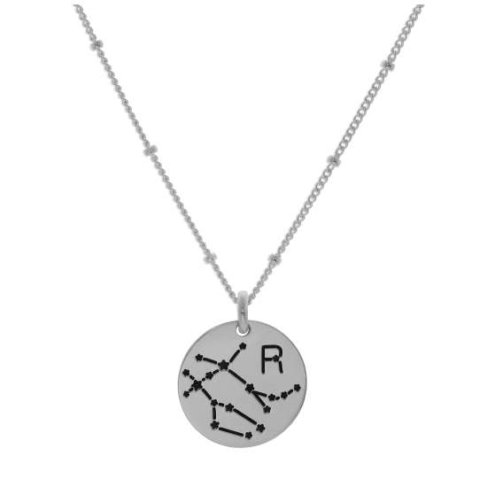 Bespoke Sterling Silver Gemini Constellation & Initial Necklace 12-24 Inch