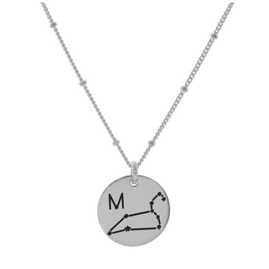Bespoke Sterling Silver Leo Constellation & Initial Necklace 12-24 Inch