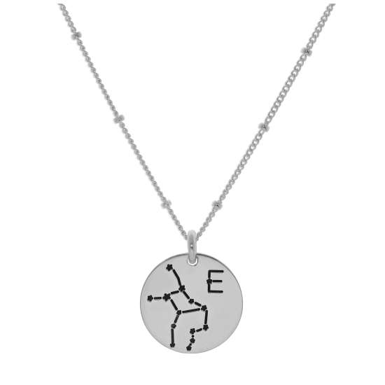 Bespoke Sterling Silver Virgo Constellation & Initial Necklace 12-24 Inch