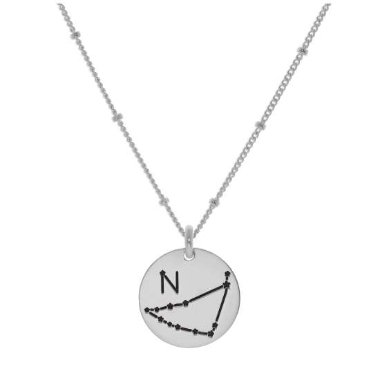 Bespoke Sterling Silver Capricorn Constellation & Initial Necklace 12-24 Inch